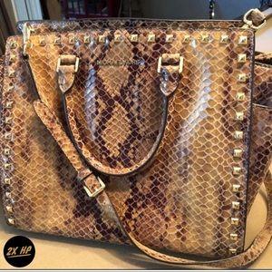 Michael Kors Selma Stud Sand Python Shoulder Bag L